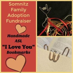 Adoption: Hand-Made Sign Language ILY Bookmark Fundraiser