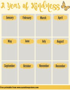 A Year of Kindess Planning Calendar