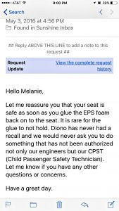 Email from Diono, Car Seat Care